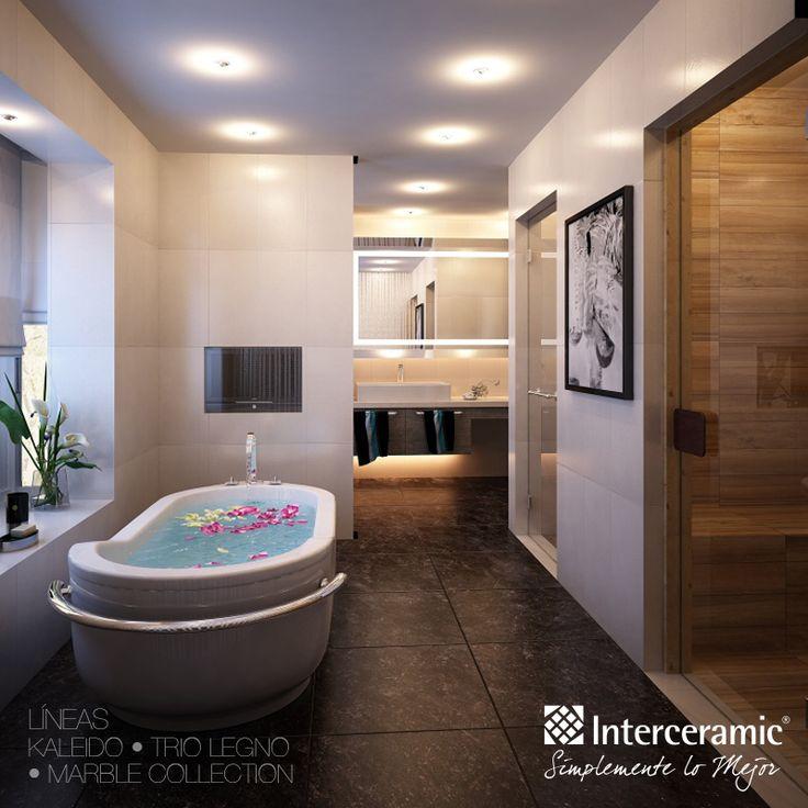 Pisos Azulejos Para Baños Interceramic:Azulejo en el piso de la línea Kaleido, #madera y #mármol en las