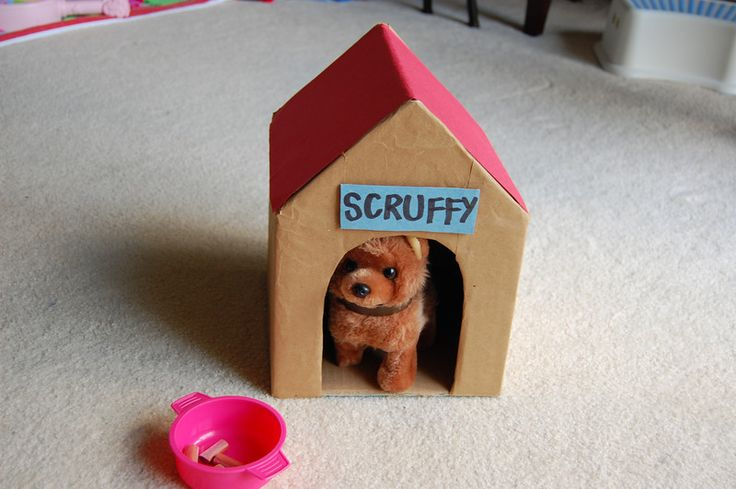 Make a dog house out of a cardboard box and a dozen for Things to make out of cardboard for kids
