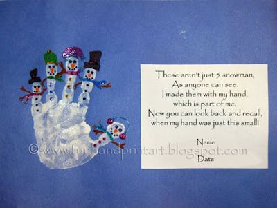 Hand print Snowman with poem. This website has adorable hand print/footprint art ideas. Love it!