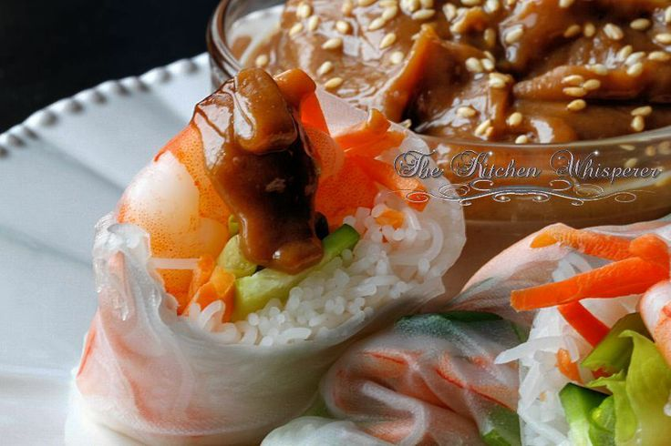... Thai Peanut Shrimp Summer Rolls with Spicy Peanut Dipping Sauce