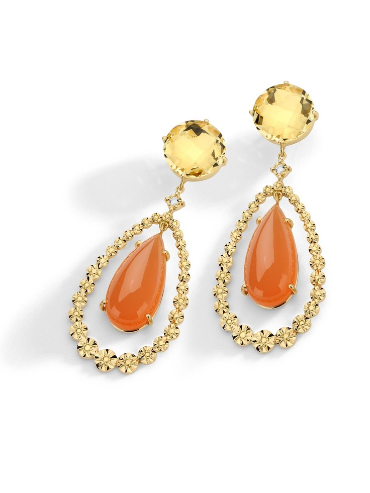 Brumani 18k Yellow Gold Moonstone and Citrine Teardrop Dangle Earrings at London Jewelers!