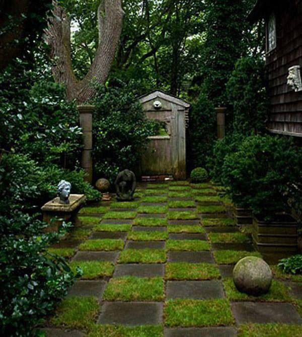 Checkerboard grass paving stones gardens and outdoor for Checkerboard garden designs