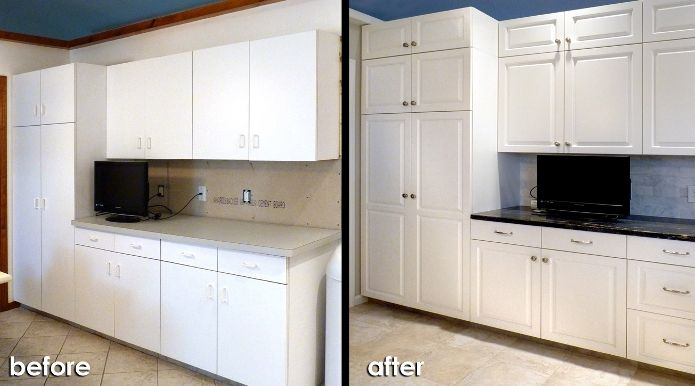 White Color Resurface Kitchen Cabinets Before And After