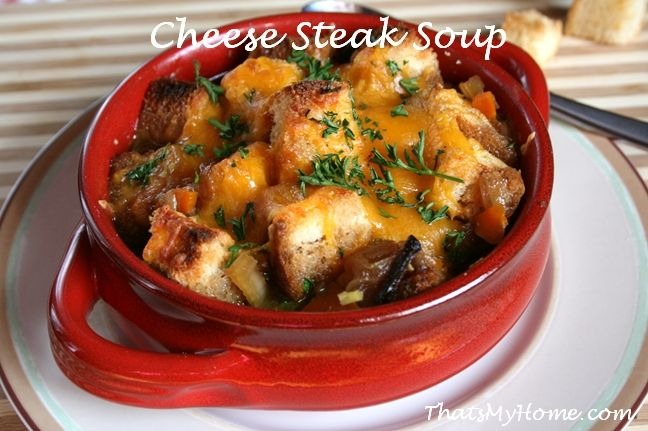... topped with croutons and cheddar cheese make this Cheese Steak Soup