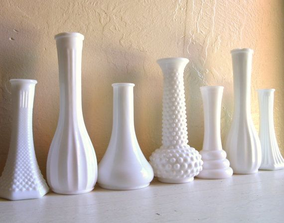 thrift store vases...spray painted white....babys breath...or your flowers....