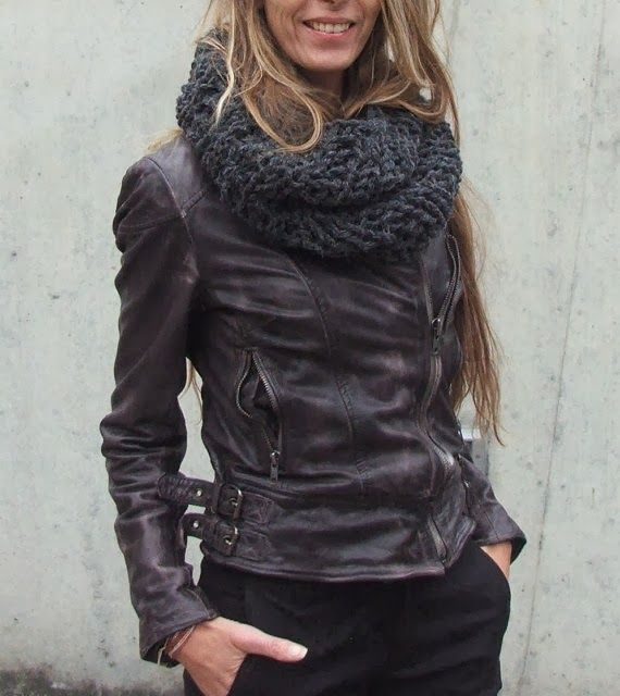 Distressed Leather Jacket With Cozy Scarf