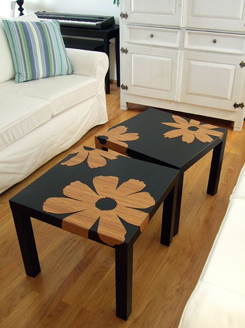 Cheap Target tables, a stencil, and spray paint. I would use a different stencil