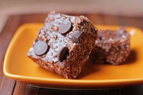 chocolate peanut butter oat bars - no bake, super easy. my 7yo LOVED ...