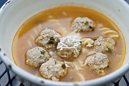 Skinny version of meatball + spaghetti soup. Looks delicious.