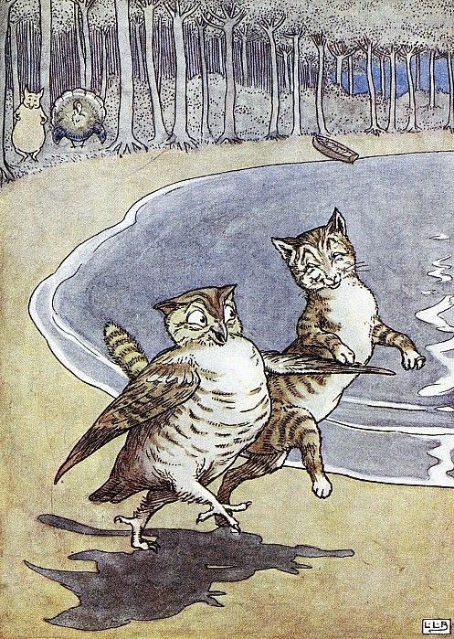 Leslie Brook, illustrator. From The Owl And The Pussycat by Edward Lear.