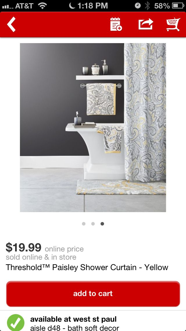 Target - yellow grey shower curtain | L+C Home