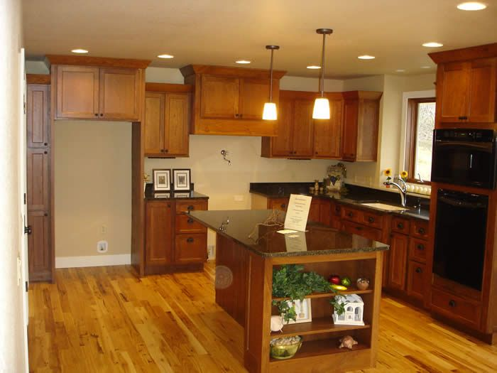 Dark Cabinets Hickory Floors For The Home Pinterest