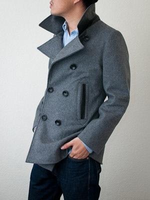 Grey pea coat.