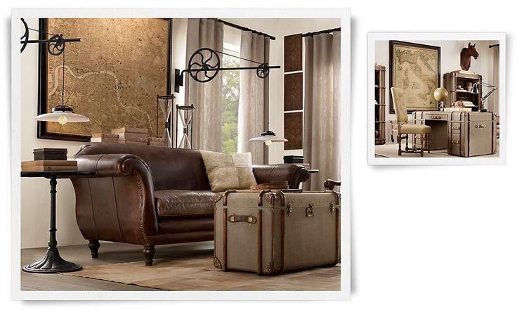 restoration hardware living room industrial chic pinterest