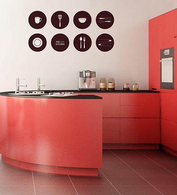 Kitchenwares Circle Border DIY Kitchen Wall Art Vinyl Decals Stickers