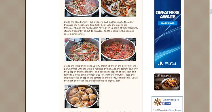 Chicken Cacciatore (Hunter Style Chicken) Recipe | Simply Recipes