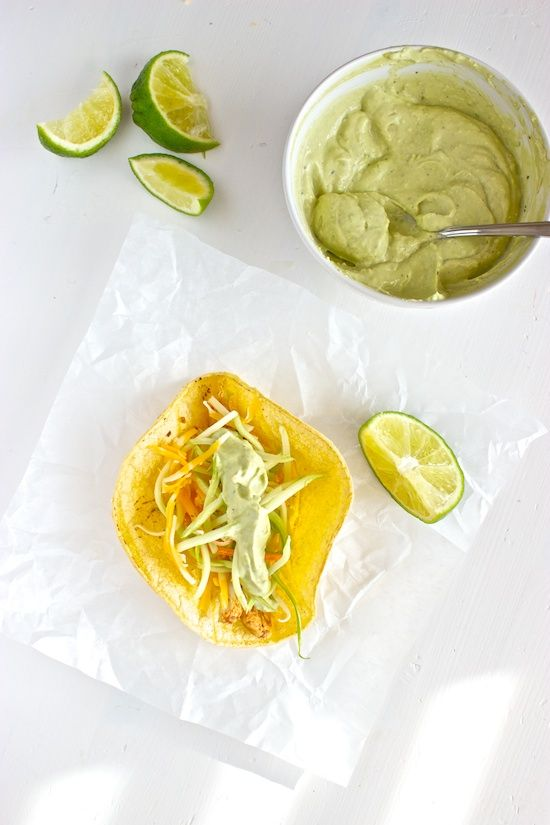 ... like this: avocado cream sauces , chipotle chicken and chicken tacos