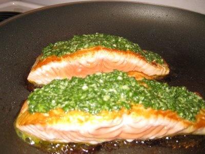 Pan Seared Alaskan Salmon with Arugula Almond Pesto