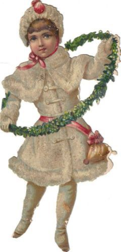 Victorian Scrap Snow Girl w Ivy Wreath Die Cut Mica Glitter c1880