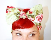 Bow hair tie Powder Blue Vintage Rose Rockabilly by OhHoneyHush. $12.00, via Etsy.