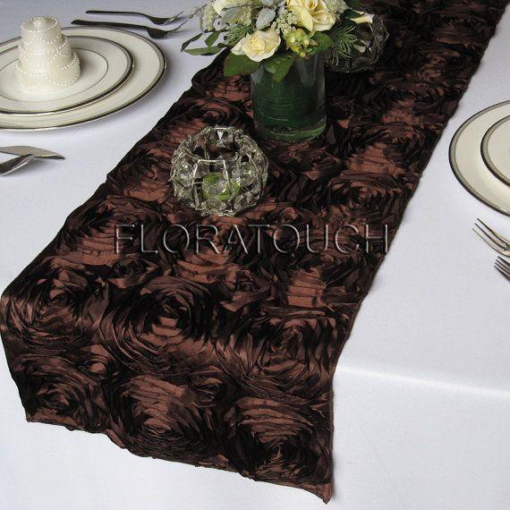 Satin Brown  Rosette Wedding rosette  table runner wedding Runner  Table