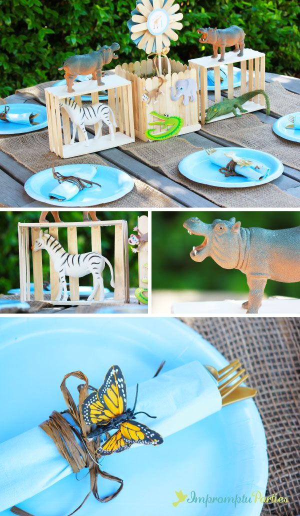 Zoo Birthday Party Tablesetting  Reese first birthday zoo  Pinterest