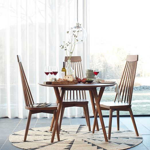 Round Dining Table West Elm Miac Whirlwind Rug Spoke Dining Chair