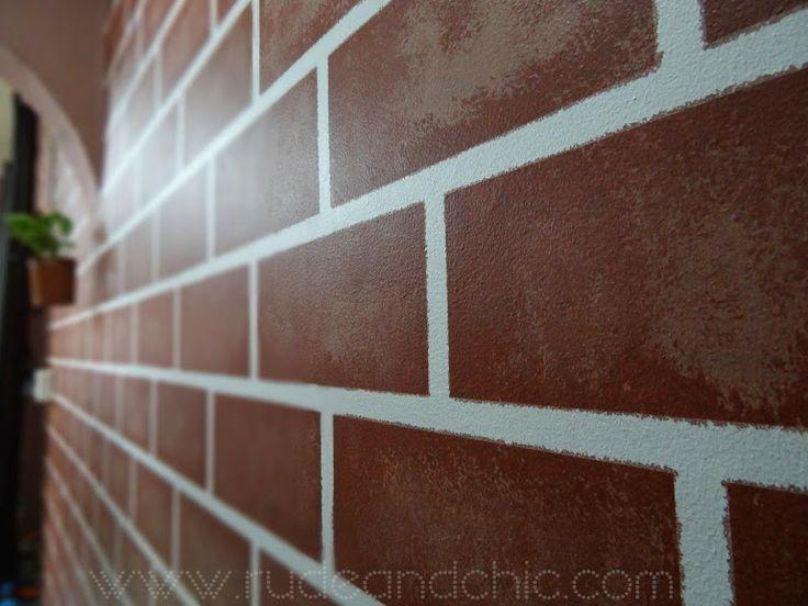 diy decor faux painted brick wall painting pinterest. Black Bedroom Furniture Sets. Home Design Ideas