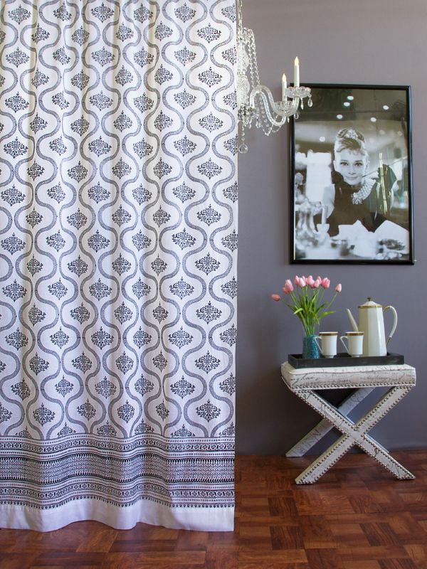 Filigree ~ Black and White Vintage Hollywood Glamour Curtain | living ...