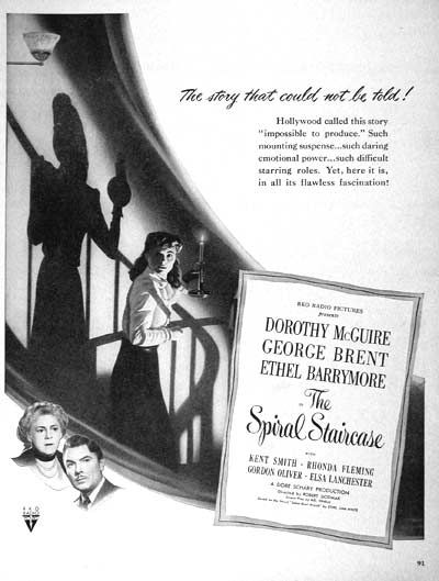 1946 The Spiral Staircase | Old Advertising - Cinema | Pinterest