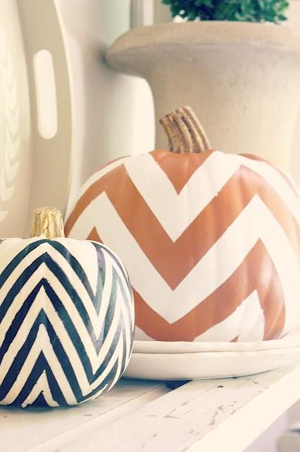 DIY - chevron pumpkins with gold stem