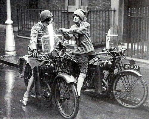 British women on motorcycles, 1930s.