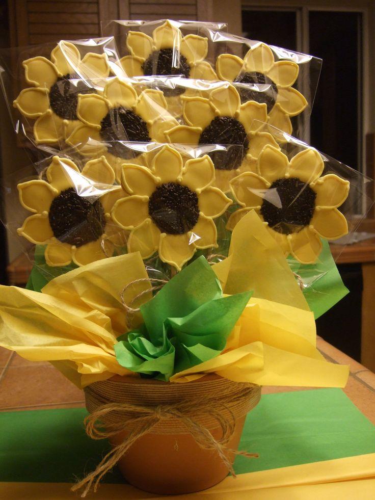 Sunflower sugar cookie bouquet edible bouquets pinterest
