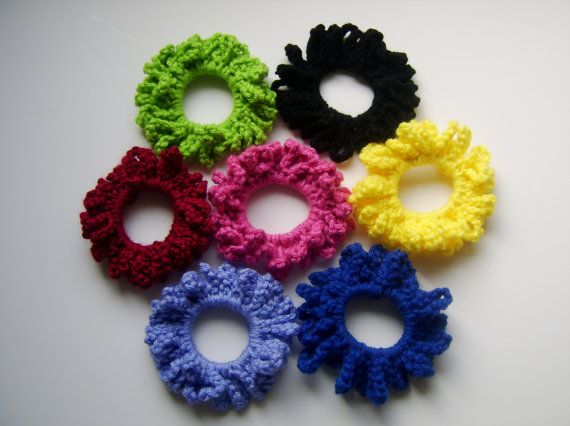 Crochet Hair Loops : Made to order Crocheted Loop Scrunchy Hair Accessory by Gillyweeds, $4 ...