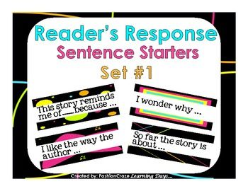 Reader's Response Sentence Starters Set #1 - 24 sentence starters for response journals. 3 1/2 by 10 inches long, great for bulletin boards!!