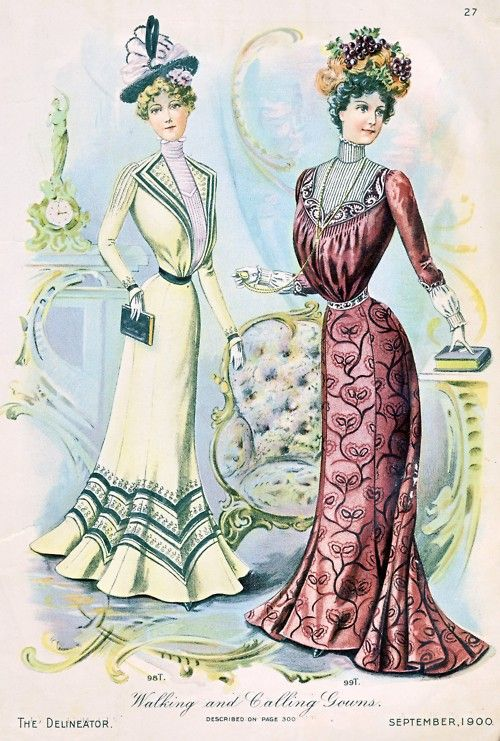 "Walking and ""calling"" dresses, 1900 US, the Delineator I imagine that calling is the same as visiting."