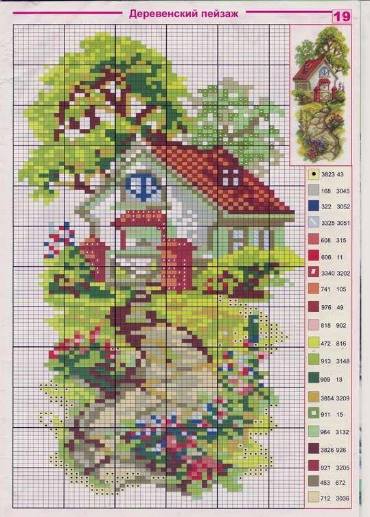 Схемы вышивки цветные домики 20