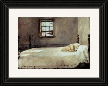 black framed master bedroom bed andrew wyeth lab dog print