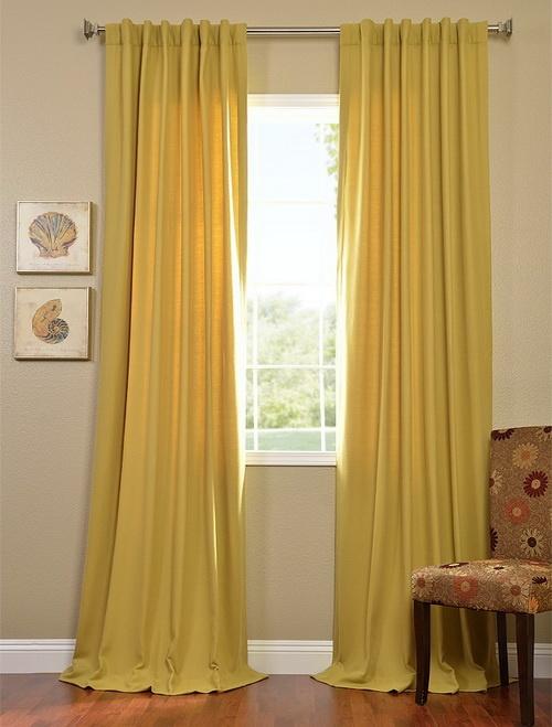 Citron Cotenza Curtain Pole Pocket With Back-Tabs Panel