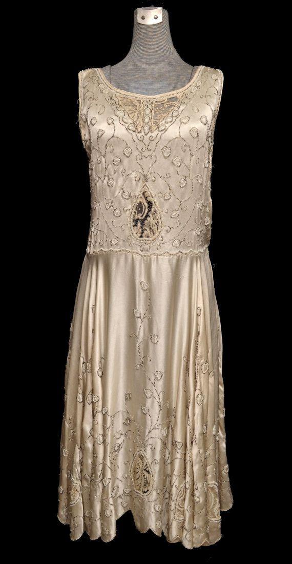 vintage 20s dress 1920s beaded dress 20s flapper