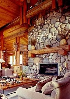 River Rock Fireplace Surround Fireplaces Pinterest
