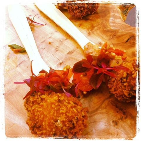 take on a BLT> caraway rye breaded pulled pork with bacon jam ...