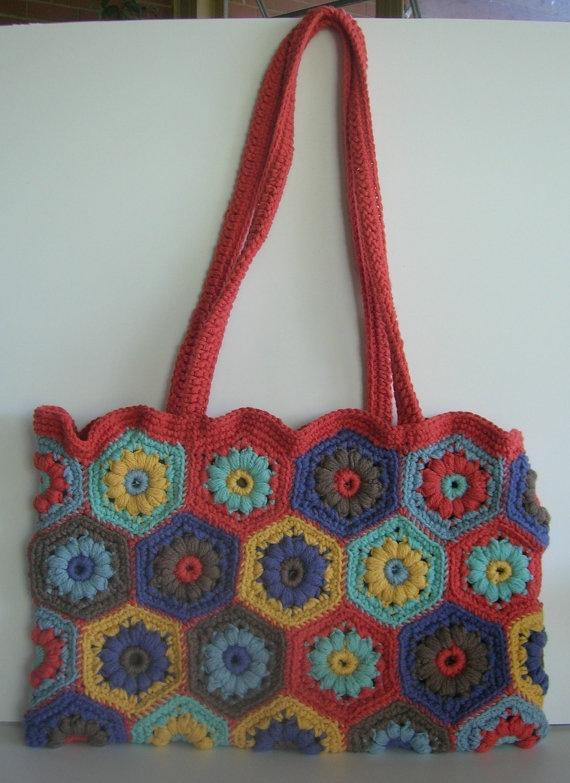 Crochet Purse Granny Square Motif Tote Bag