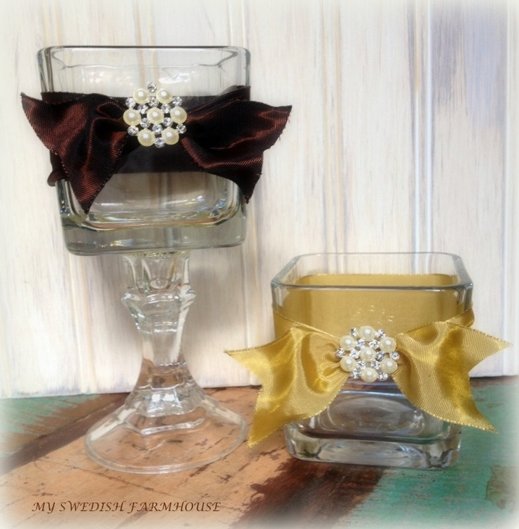 Candle votive table centerpiece rustic shabby chic wedding