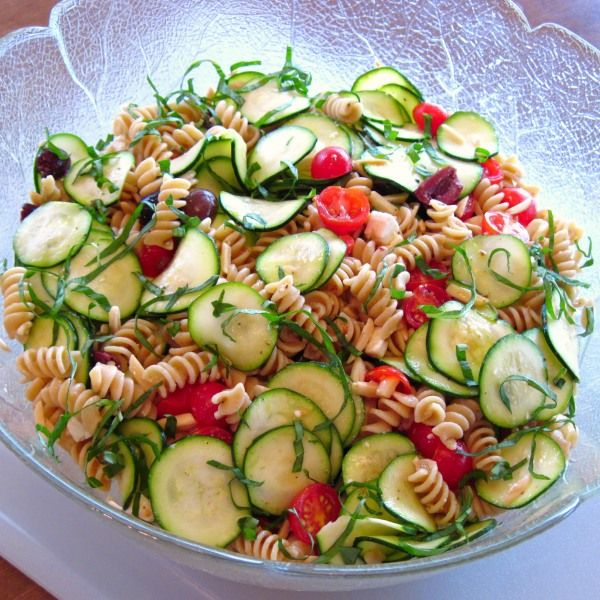 Zucchini and Pasta Salad - zucchini, pasta, cherry tomatoes, kalamata ...