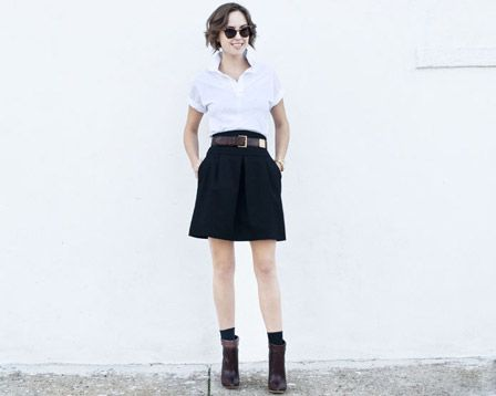 black skirt white shirt for apparel and accessories