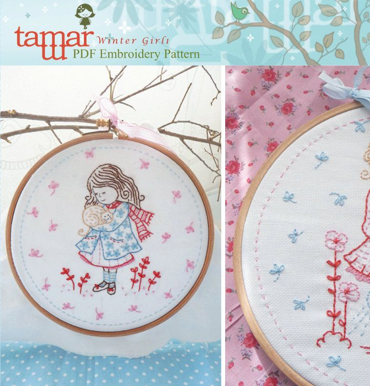 Embroidery Patterns Baby Blanket - Winter Girl 1. $5.00, via Etsy.