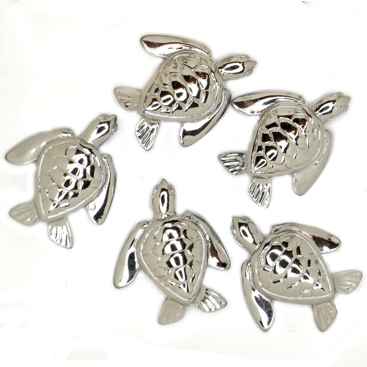 Baby sea turtle cabinet knobs cast in fine pewter