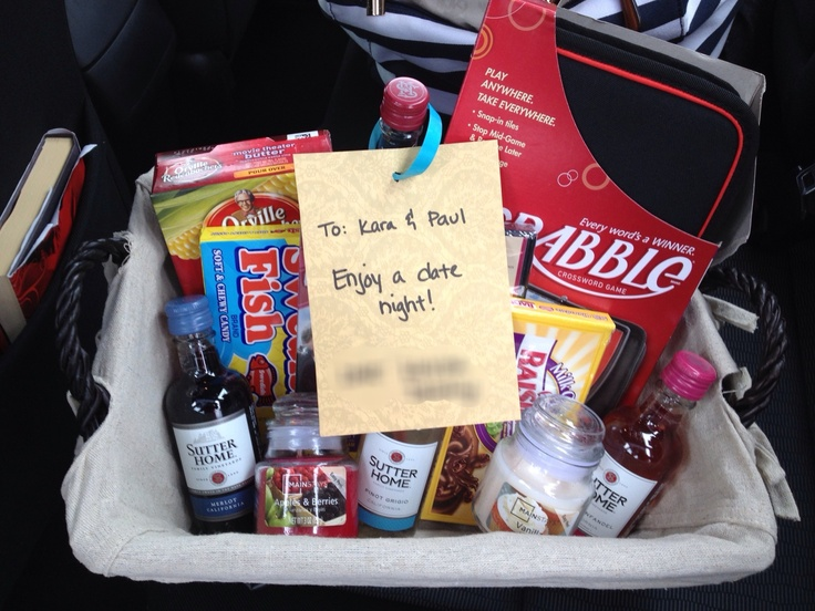 Date night basket for a Bridal ShowerScrabble, movies, popcorn ...