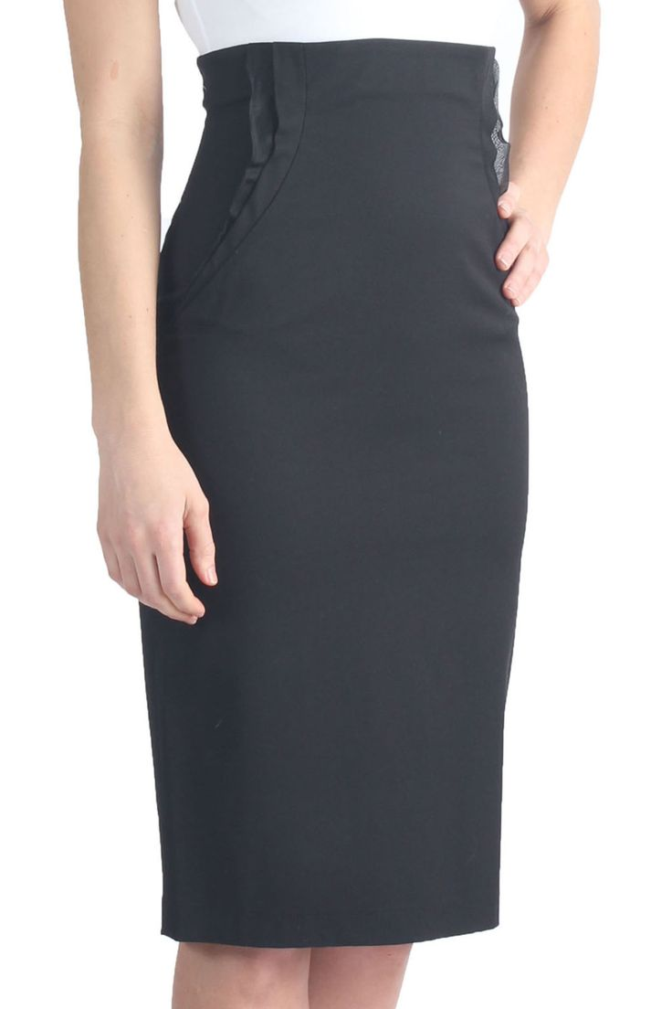 high waisted knee length pencil skirt w hip accent detail